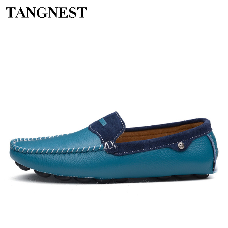 Tangnest NEW Men Loafers High Quality Genuine Leathers Spring Comfortable Light Flats Breathable Slip On Man Moccasins XMR2807