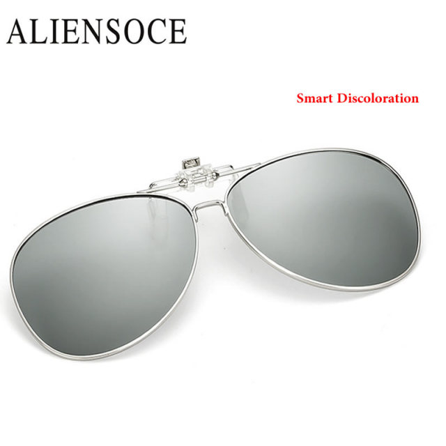 Myopia Clip on Sunglasses Smart Discoloration Rimless Clip Glasses ...