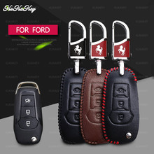 Genuine Leather Car Key Case Cover Protection For Ford Edge Mondeo Mustang Remote 3 Buttons Shell Accessories