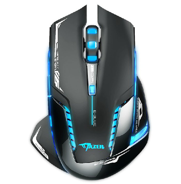 Ergonomics Optical interface E-3lue 6D Mazer II 2500 DPI Blue LED 2.4GHz Wireless Gaming Game Mouse e 3lue 6d mazer ii 2500 dpi blue led 2 4ghz wireless optical gaming game mouse 02