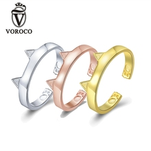 VOROCO Silver/Rose Gold/Gold Open Rings For Woman Female Real 925 Sterling Silver Pet Cat Cute Ring Party Jewelry anillos BKR387