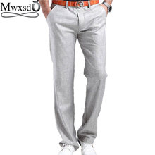 Mwxsd brand high quality summer Men's Linen cotton Pants men Casual breathing trousers Men's Clothing business pants Size 29-38