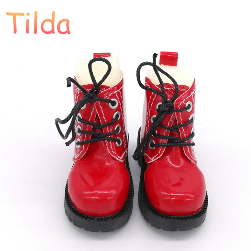 Tilda 7cm Length 1/3 BJD Doll Toy Shoes,Lovely Mini Shoes Simulation Leather Short Boots for Dolls High Quality Doll Accessories handsome black army boots for bjd doll 1 4 1 3 sd17 uncle ssdf shoes sm8
