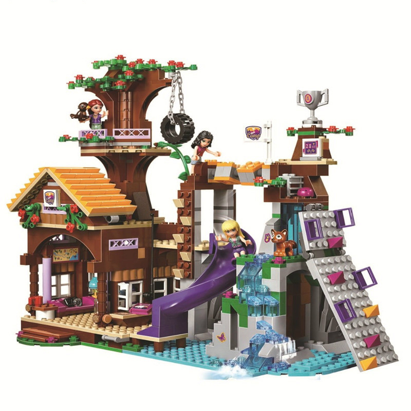 739Pcs Friends Adventure Camp Tree House Tire Swing Model Building Blocks Girl Toys Compatible with Legoe [hot] 875pcs legoings adventure camp tree house model building blocks gifts toy compatible legoingly friends toys for children