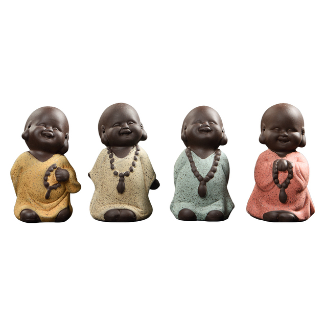 Cute Tea Pet Home Decoration Purple Clay Yixing Maitreya Kung Fu Tea Set  Accessories Chinese Buddha