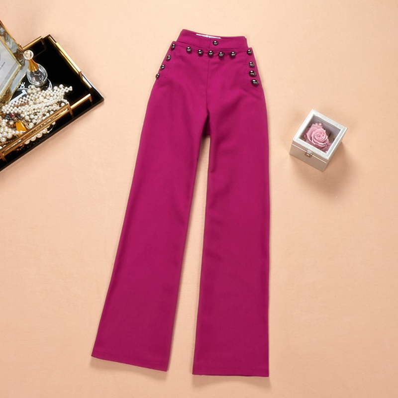 Asian Stylish High Street Women's All-match Stunning Luxury Rivet Solid Color High Waist Casual Straight Pants Capris