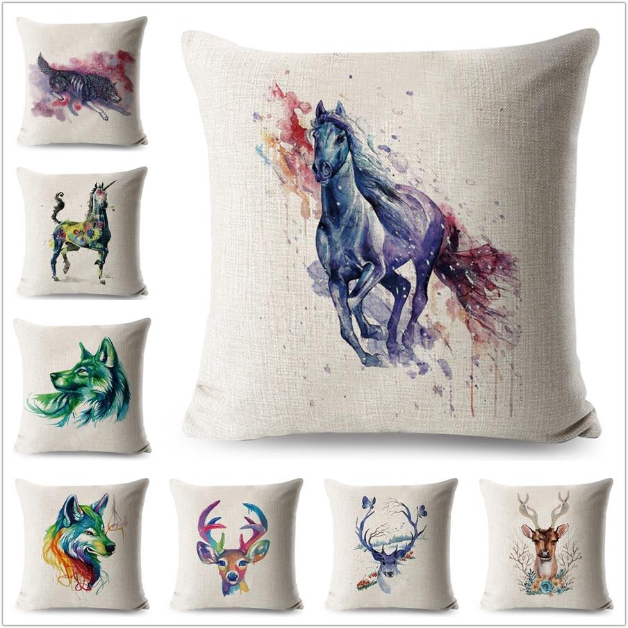 Aquarela Cavalo Capa De Almofada De Linho 45 Decorativa Animais