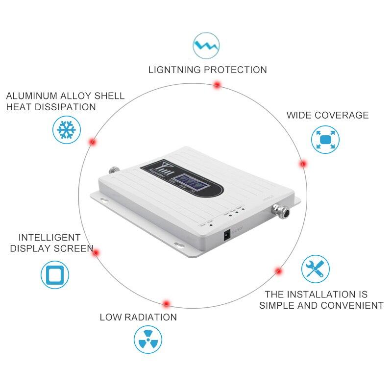 Signal d'appoint à trois bandes pour téléphone portable 4g LTE 1800 mhz 900 mhz 2100 mhz dcs gsm wcdma réseau de communication léger 70dB 2 pièces # - 6