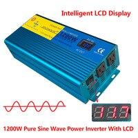 Цифровой Дисплей 1200 Вт 2400 Вт пик Чистая синусоида Мощность инвертор DC 12 В к AC 100 В 110 В 120 В конвертер солнечные Мощность