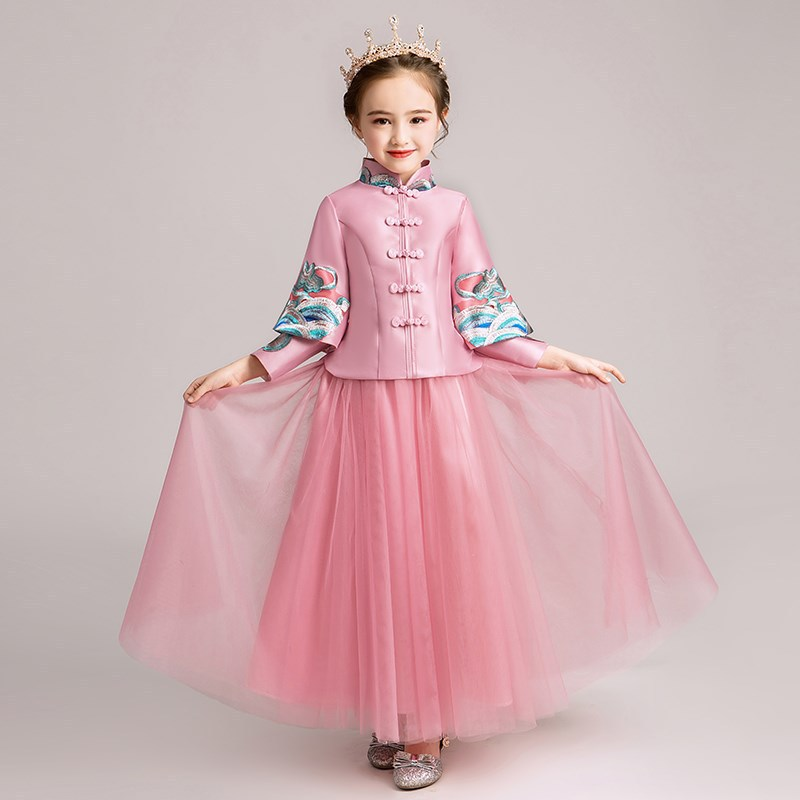 New Teen Girls Chinese Style Embroidery Dress Kids Thick Princess Dresses For Girls Wedding Party Baby Girl Clothes Vestidos S53New Teen Girls Chinese Style Embroidery Dress Kids Thick Princess Dresses For Girls Wedding Party Baby Girl Clothes Vestidos S53