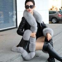 Long Faux fur leather Jacket hooded Slim fur PU Mink Fur Stitching Skirt Trench Coats imitation sheepskin fox fur collar Outwear