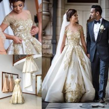 Baroque Summer Gown Detachable Train Wedding Dress