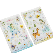 6pcs/lot deer Fairy girl DIYwatercolor self-adhesive paper Sticker hand account diary album Decorative label student office lady