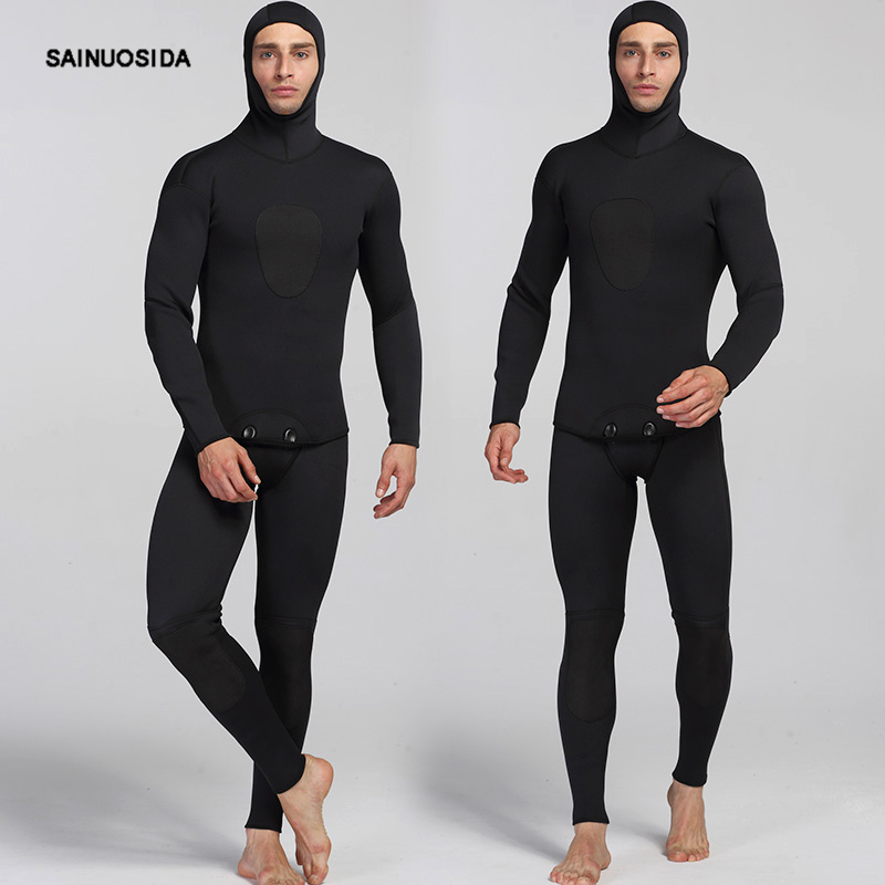 Double Warm Professional 3MM One-Piece Neoprene Scuba Dive Wetsuit With Hood Spearfish Suit For Men     MY011 sun protection full body stinger suit dive skin with hood lycra wetsuit nylon swimwear one piece jump suit for scuba snorkeling