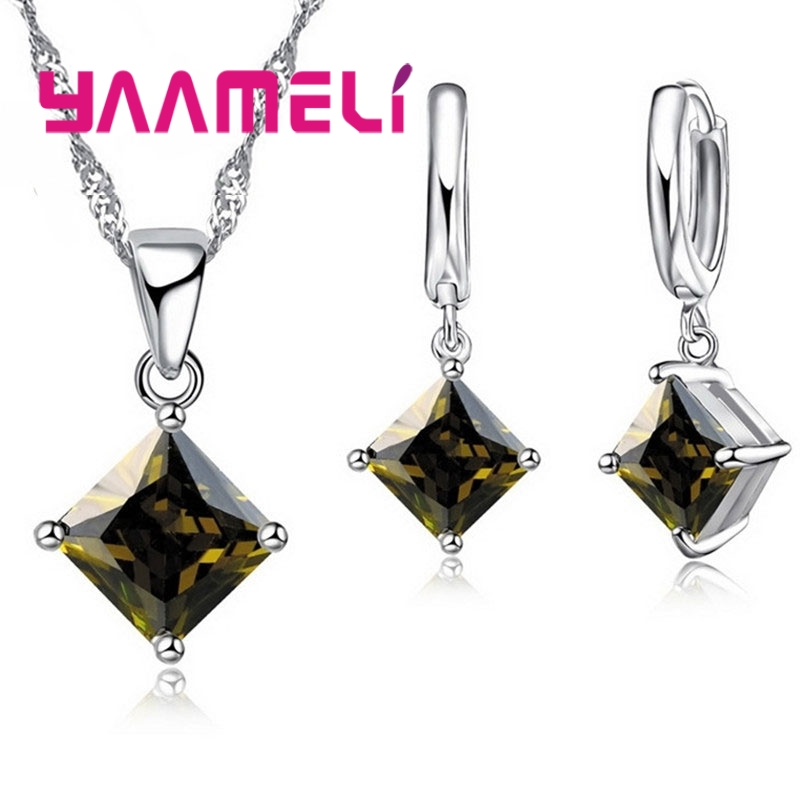 New Arrival 925 Sterling Silver Women Accessories Earrings Jewelry Set With Shiny Square Shinny CZ Necklace Earrings 5