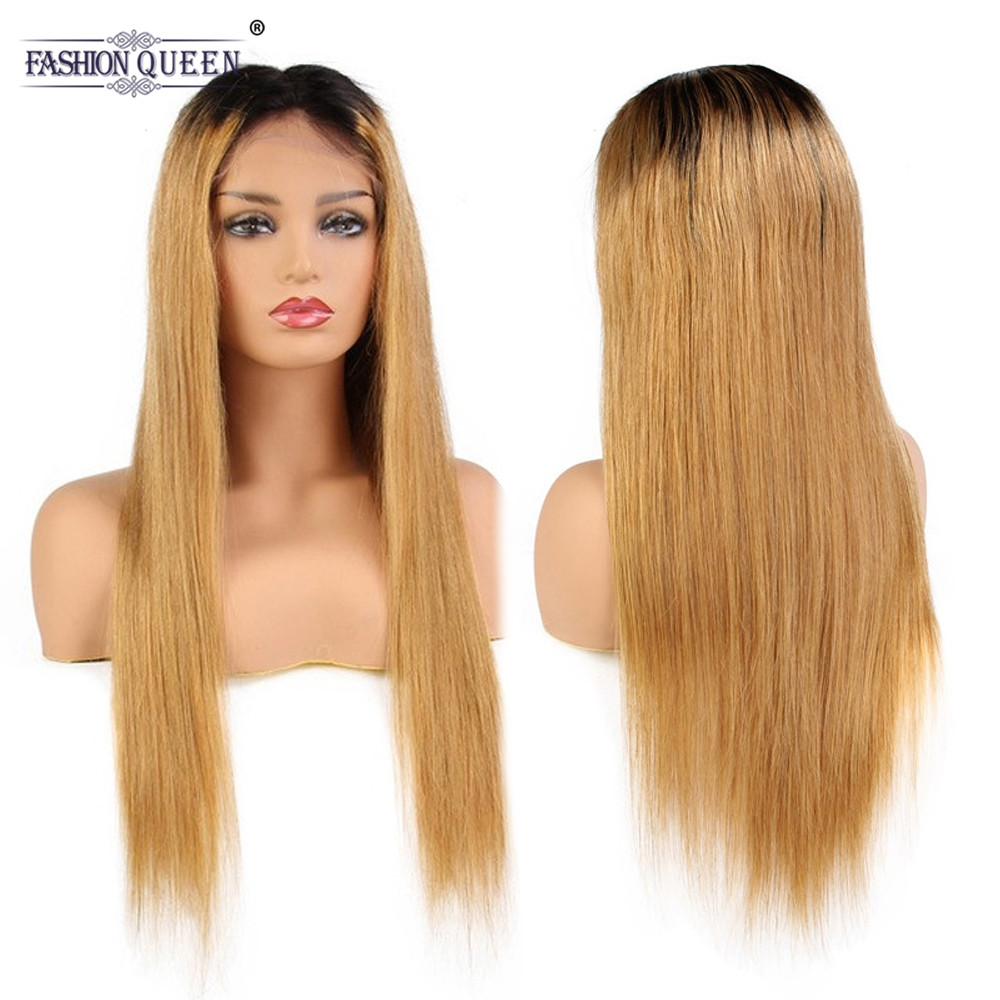 Fashion Queen Hair 10-24 Ombre Color 1b/27 Remy Brazilian Full Lace Human Hair Wigs Pre Plucked Natural Hairline Wigs