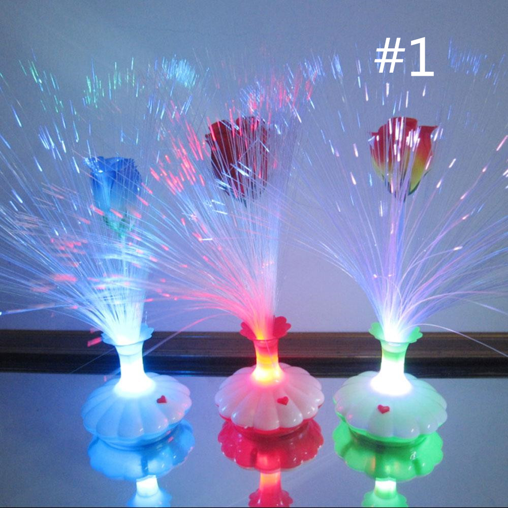 Optic Fiber Lights Lights & Lighting Led Optical Fiber Lamp Lily Vase Night Light Decoration Lighting Fixture