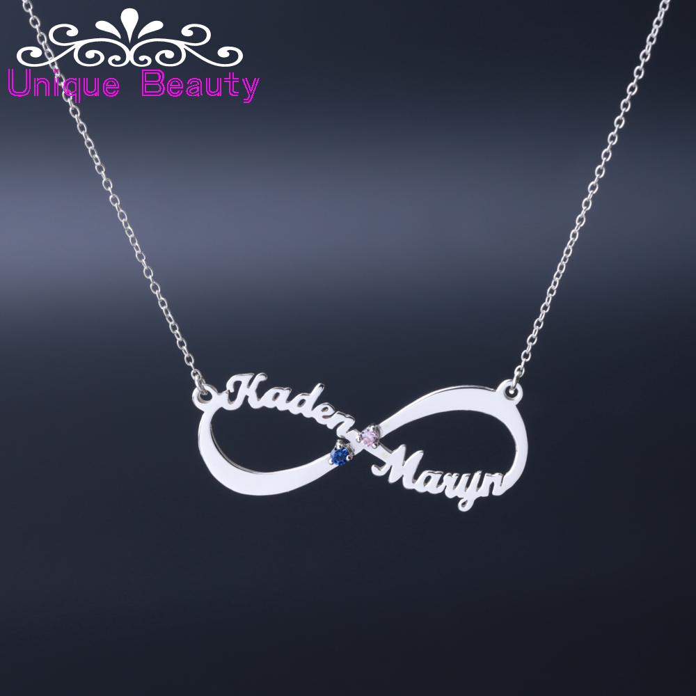 цена на 925 Solid Silver Personalized Infinity Necklace 2 Name Custom Zircons, Birthstone Nameplate Infinite Pendent, Mother's Gift