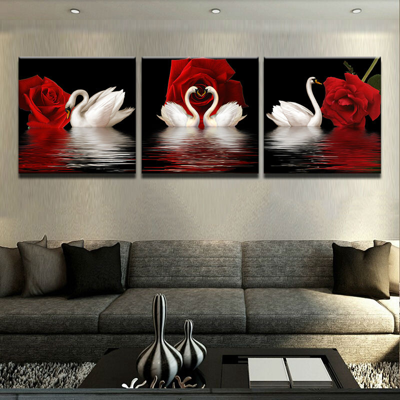 Wall art picture home decoration living room canvas print for Cadre floral mural