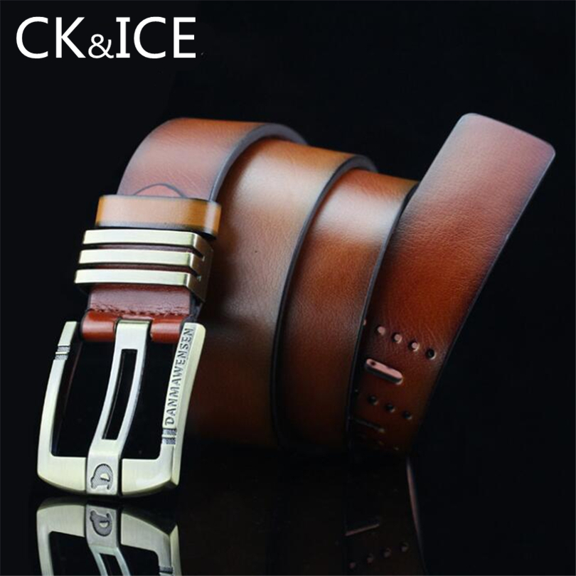 CK&ICE New Fashion Best Quality PU Leather Belt Men Pin Buckle Vintage Carving Letter For Jeans Decoration cinto masculino homme