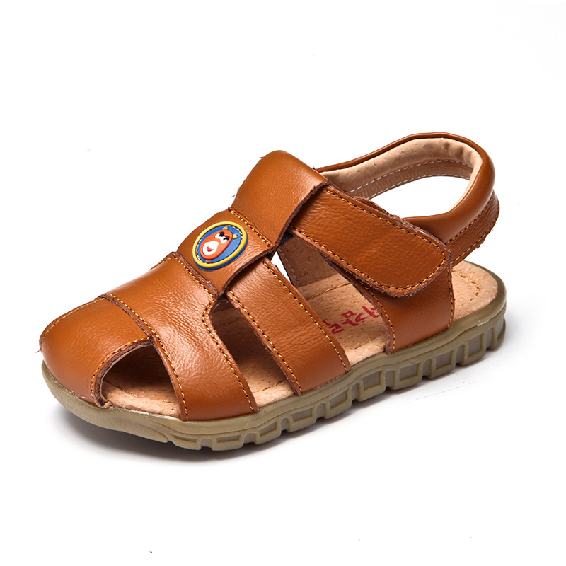 Kids Shoes Boys Sandals 2018 Summer Genuine Leather Kids Sandals Boys Shoes Fashion Closed Toe Soft Sole oys Beach Shoes Brown
