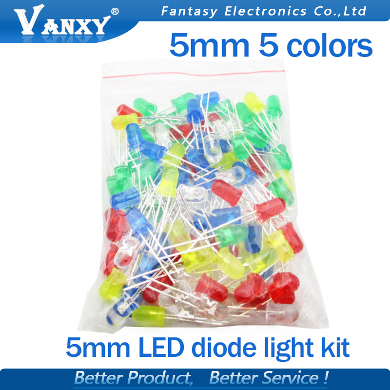 5Colors*20PCS=100PCS <font><b>5mm</b></font> <font><b>LED</b></font> Diode Light Assorted Kit Green Blue White Yellow <font><b>Red</b></font> COMPONENT DIY kit new original image