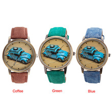 Eco hot Concise Fashion Men And Women Retro Car Pattern Denim Twill Strap Watch Oct 29