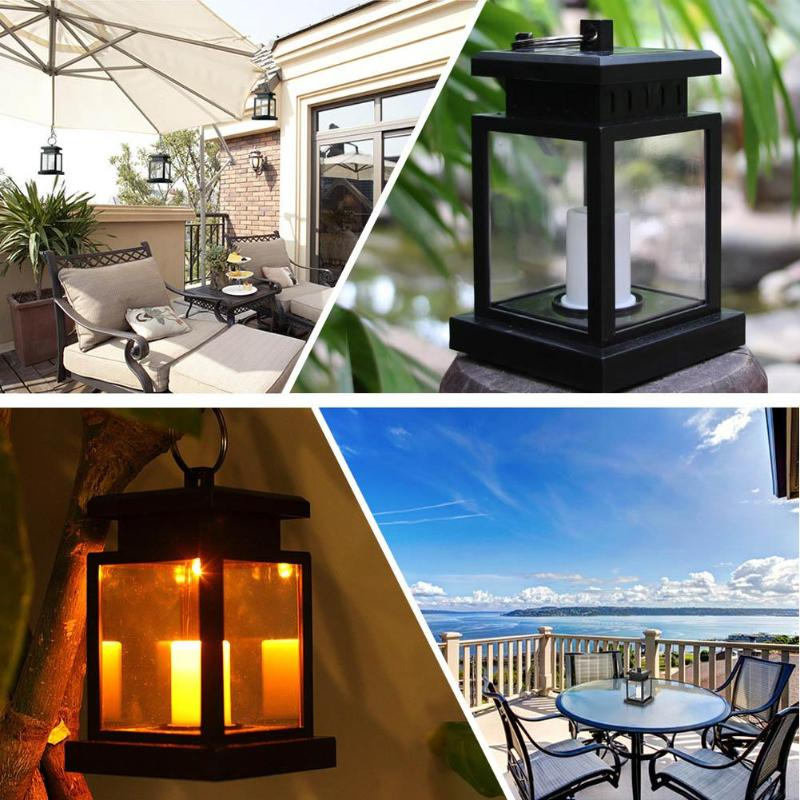 2 Pcs Portable LED Candle Lantern Solar Power Outdoor Yard Garden Lights Table Warm Light Rechargeable Waterproof Hanging Decor outdoor solar power led candle light yard garden decor tree palace lantern light hanging wall lamp clh 8