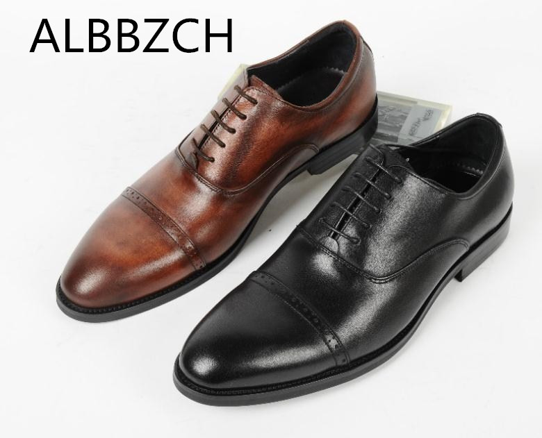 Genuine Leather Dress Men Shoes Oxford Formal Suit Wedding Shoes Mens High Grade Office Work Shoes Size 38-44Genuine Leather Dress Men Shoes Oxford Formal Suit Wedding Shoes Mens High Grade Office Work Shoes Size 38-44