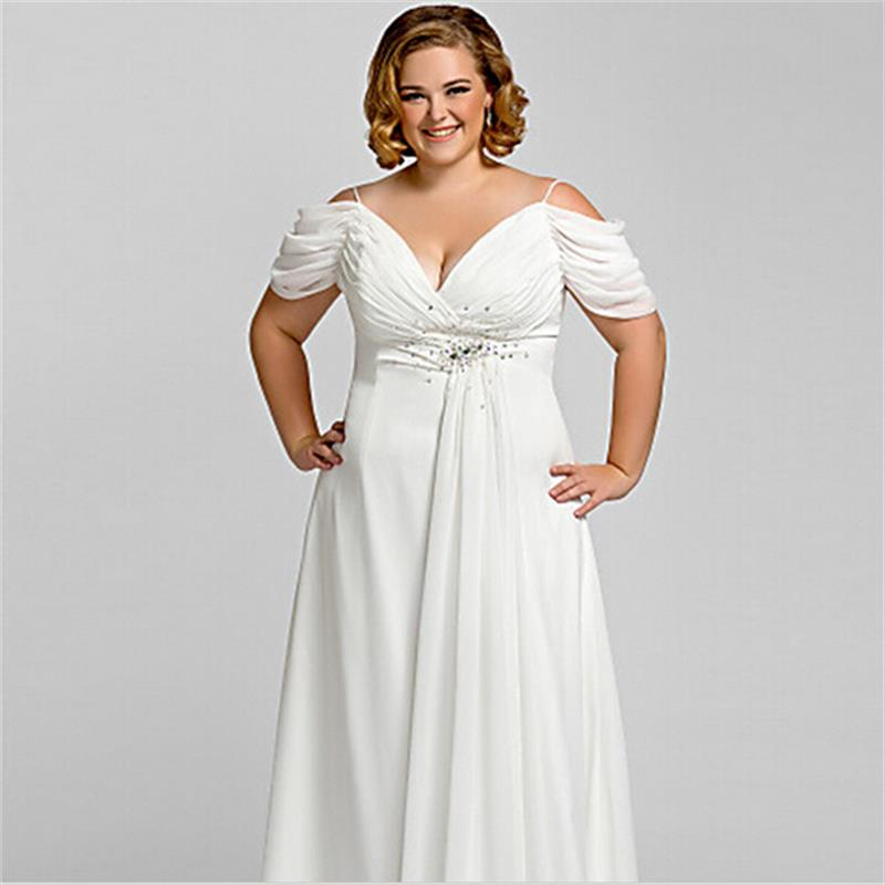 Plus Size White Evening Dress