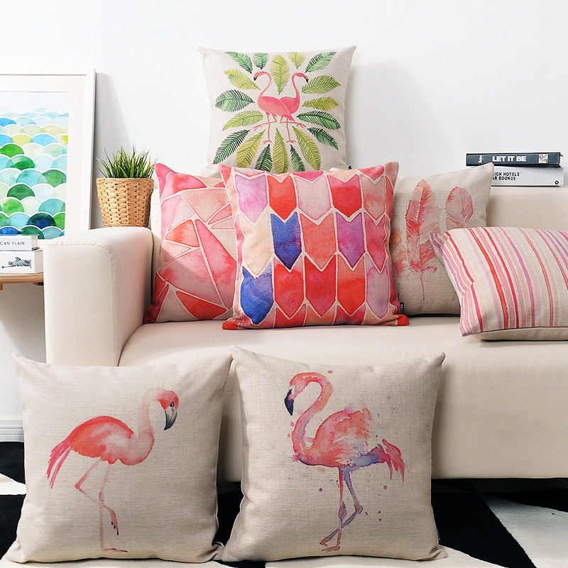 Gracious Home Decorative Pillows : Modern Nordic Art Pink Pillow Creative Watercolor Flamingo Pillowcase Home Decor Throw Cushion ...