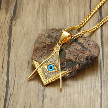 Gold Color with CZ Masonic Symbol Pendants Necklaces Titanium Steel Masonry Pendant Eye 60cm Chain for Free Fashion Jewelry