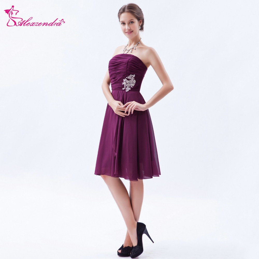 Alexzendra Purple Chiffon Strapless Pleats Short Knee Length   Prom     Dresses   Customize Special Party Gowns