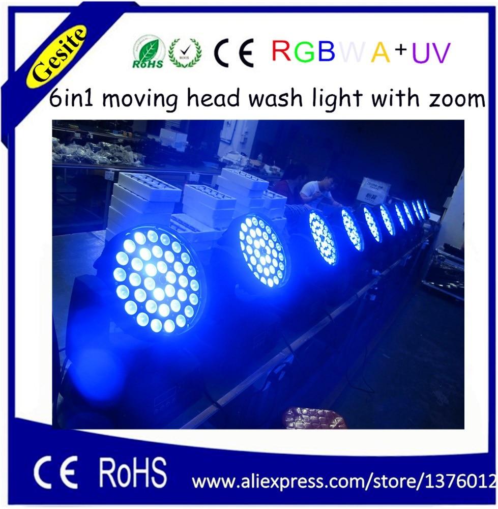 36pcs 18W 6in1 yang diketuai bergerak kepala zoom bergerak kepala cahaya RGBWA + UV 6 dalam 1 membawa cahaya basuh kepala bergerak