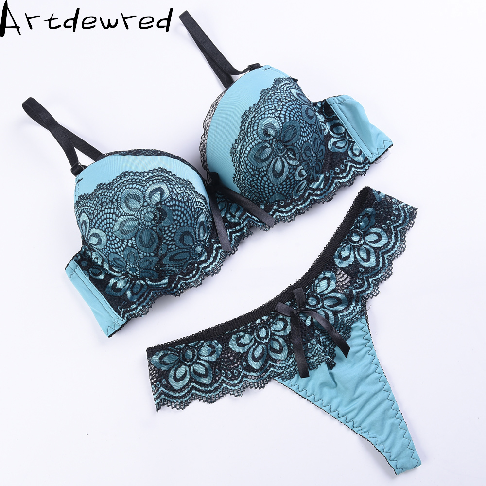 Artdewred Lace   Bra     Set   Women Plus Size Push Up Underwear   Set     Bra   And Thong   Set   36 38 40 42 44 Cup AB For Female