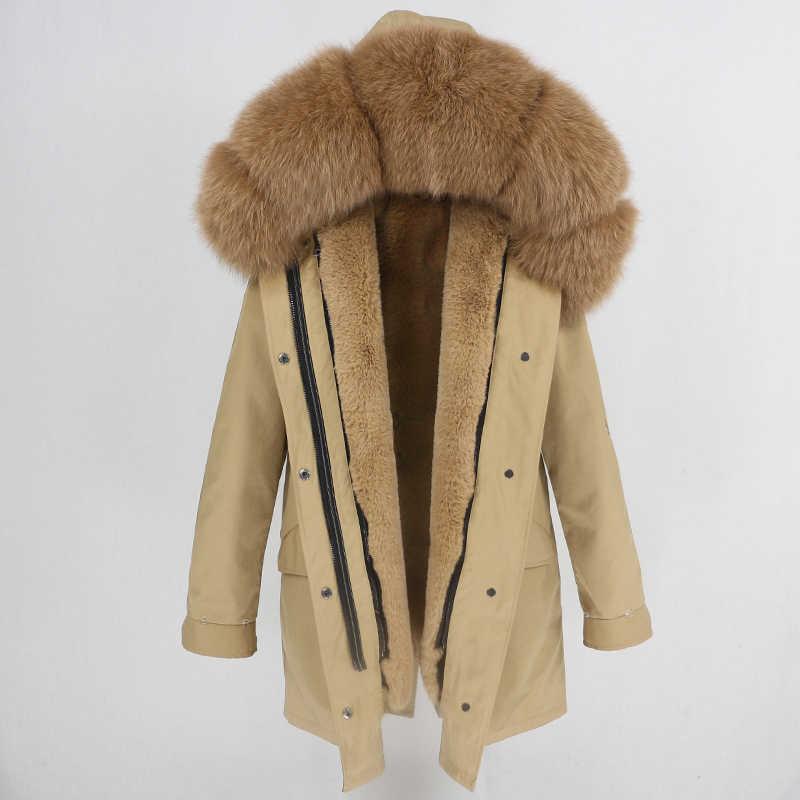 Женское водонепроницаемое пальто с мехом, бежевая водонепроницаемая меховая парка с отделкой из натурального меха енота, лисы на капюшоне, зима 2019