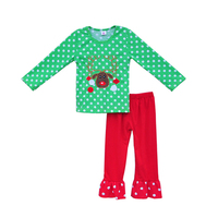 New Coming Baby Christmas Costume Reindeer Deco Tops Red Ruffle Pants Knitted Cotton Kids Girls Outfits Clothing C033