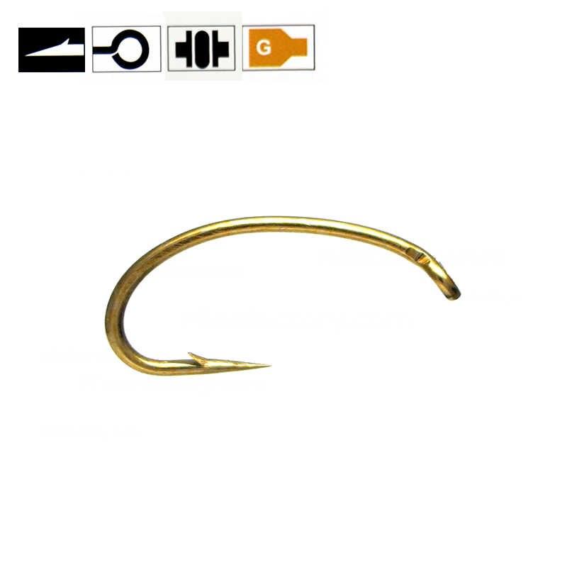 50 cái Màu Vàng Fly Ràng Buộc Scud Nymph Móc Caddis Midge Tôm Fly Ràng Buộc Fish Hooks Kích Thước 10 12 14 16