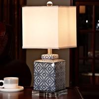 Luxury Blue and white porcelain Table Lamp Luxury Bedroom Bedside Lamp Ceramic With Crystal Base Decoration Lamp Abajur Led