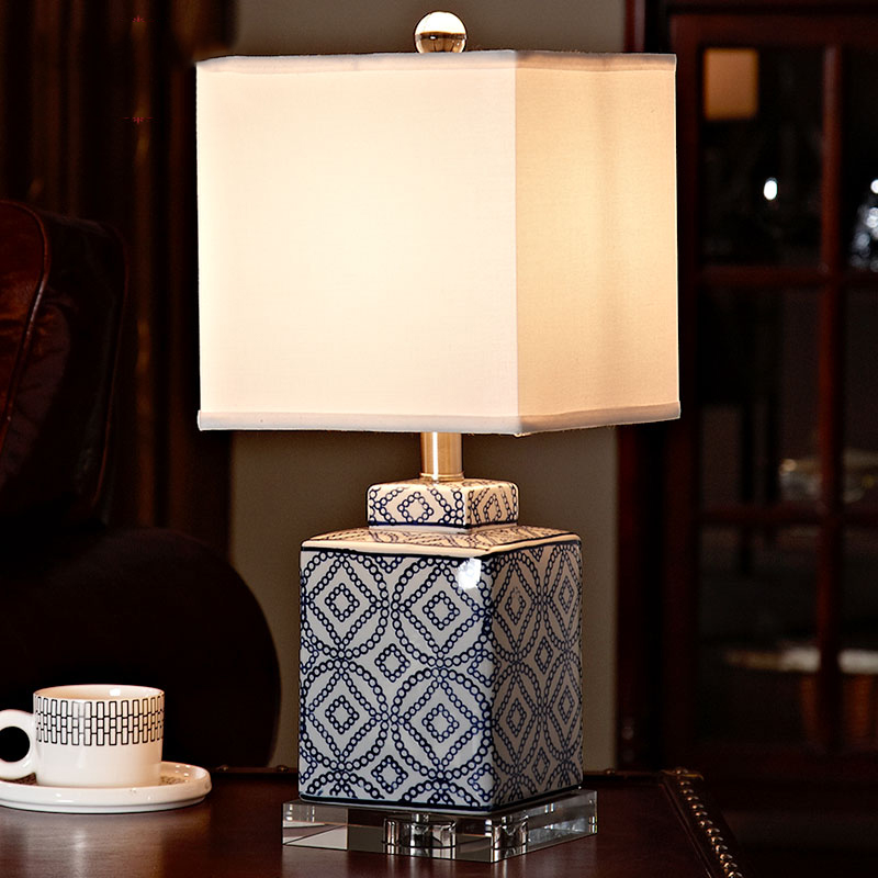 Luxury Blue And White Porcelain Table Lamp Luxury Bedroom