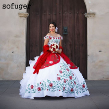 Red Embroidery Dresses Sexy Sweetheart Ball Bridal Dress Wedding Dresses Vestidos de Noivas Custom 2019 Organza Lace Up Back crayfish embroidery zip up back dress