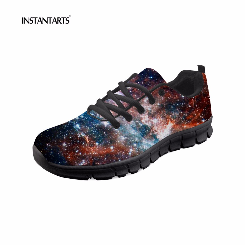 INSTANTARTS 3D Universe Star Sneakers Women Fashion Breathable Mesh Flats Shoes 3D Galaxy Pattern Womans Casual Shoes Zapatilla