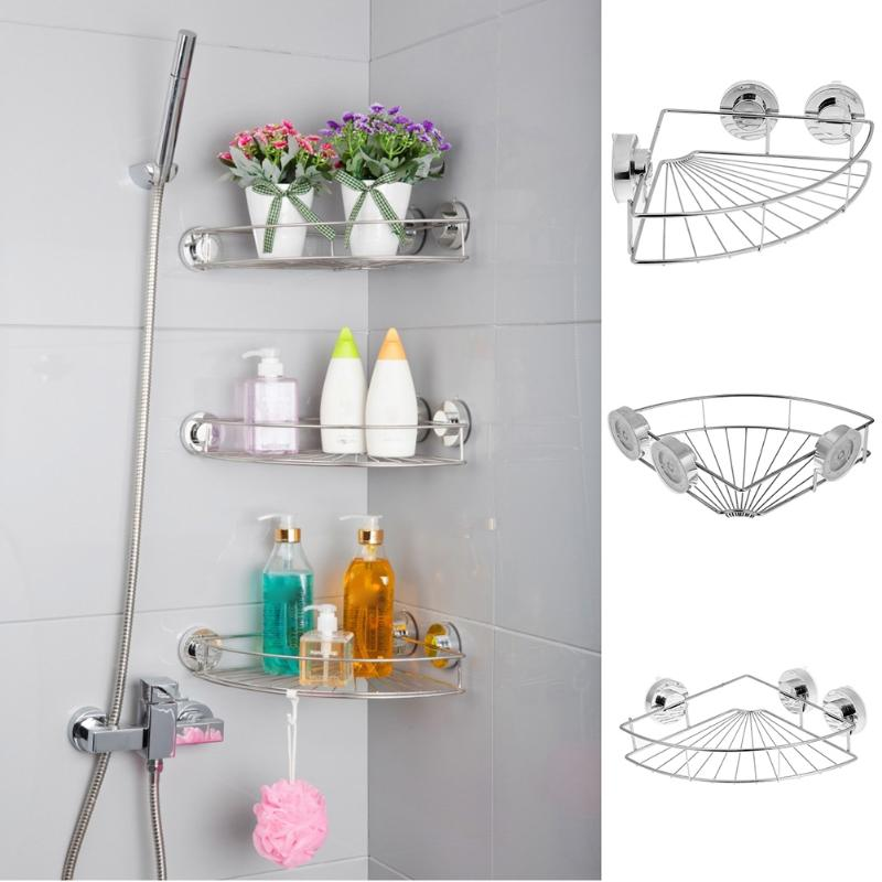 Stainless Steel Bathroom Corner Storage Holders Racks Vacuum Suction Cup Wall Mounted Type Storage Rack Kitchen Shelf Storage