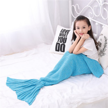 2016 autumn Yarn Knitted Mermaid Tail Blanket Handmade Crochet Kids Throw Bed Wrap Super Soft Sleeping Bag family look 140*70cm