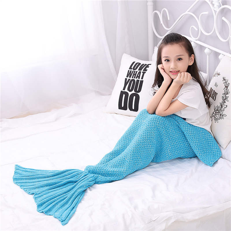 2017 autumn Yarn Knitted Mermaid Tail Blanket Handmade Crochet Kids Throw Bed Wrap Super Soft Sleeping Bag family look 140*70cm winter thicken lengthen color block sleeping bag wrap kids mermaid blanket