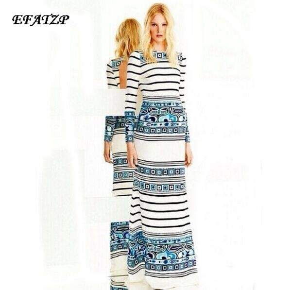 Europe Top Fashion Women s High Quality Long Sleeve Sky Blue Geometric Striped Printed Maxi Long