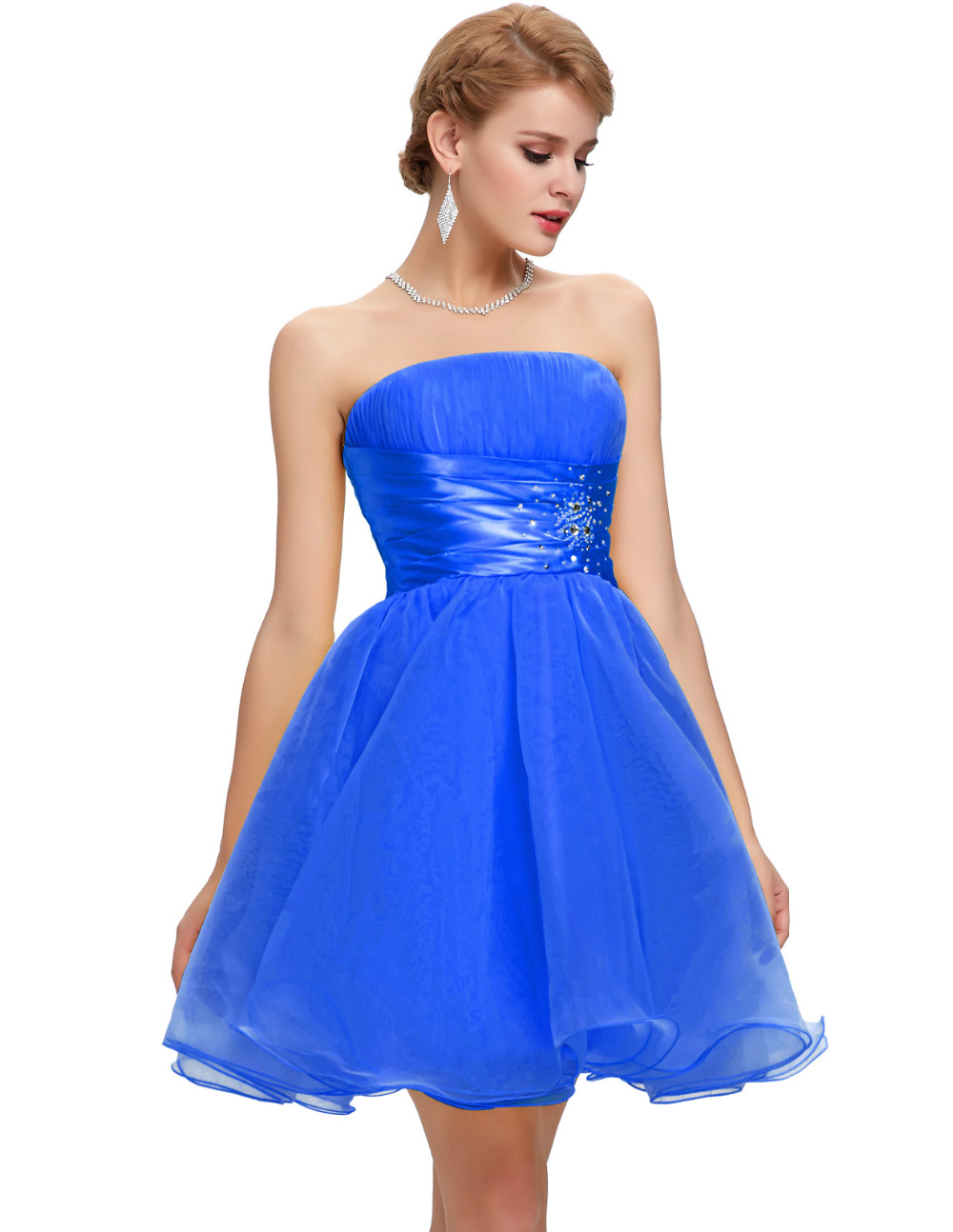 Short Prom Dresses Under $50 Robe De Bal Courte Grace karin Black White  Blue Yellow Ball