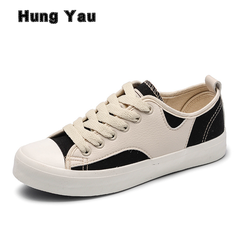 Hung Yau White Canvas Shoes Female New Spring Summer Style Shoes Women Casual Lace-Up Shoes Flats Students Loafers Plus Size 9 game of thrones casual shoes women house stark winter is coming printed summer style superstar graffiti canvas shoes big size