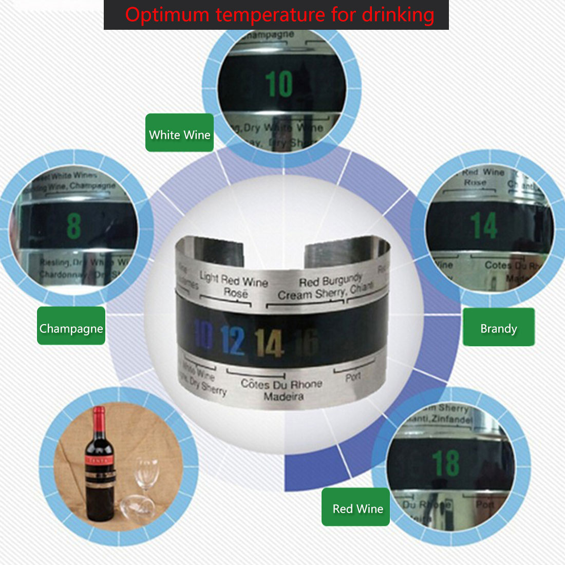 Big sale Stainless Steel Wine Bracelet Thermometer 4--26 degree centigrade Red Wine Temperature Sensor Wine Thermometer image