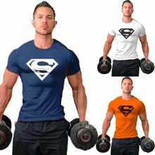 Hot-sale Tee M-2XL Superman T-shirt Men's Bodybuilding Clothing Fitness Men Free Shipping